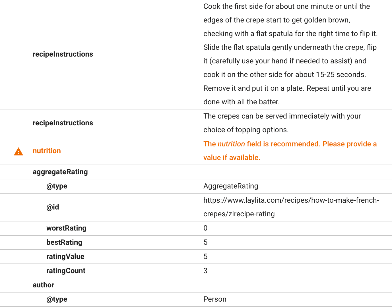 Google Structure Data Testing Tool recipe warning