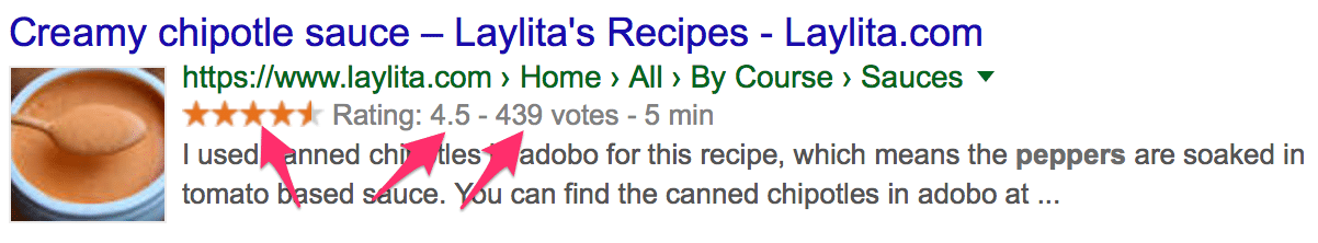 Google result for recipe with ratings