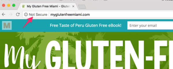 Chrome's NOT SECURE warning on My Gluten Free Miami food blog