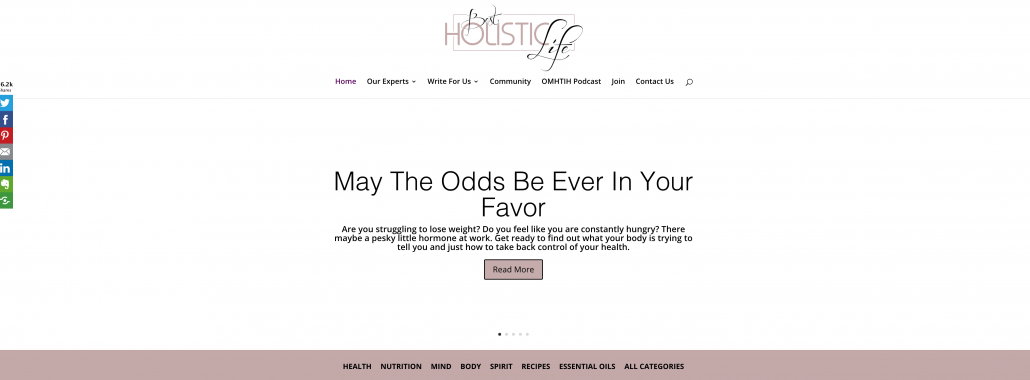 image of the homepage of bestholisticlife.com
