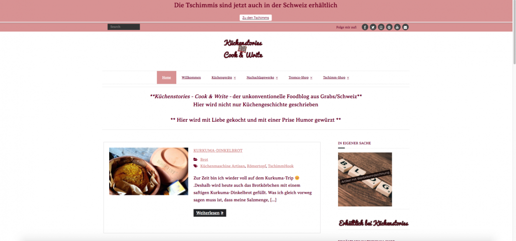 picture of the homepage of Kuchenstories