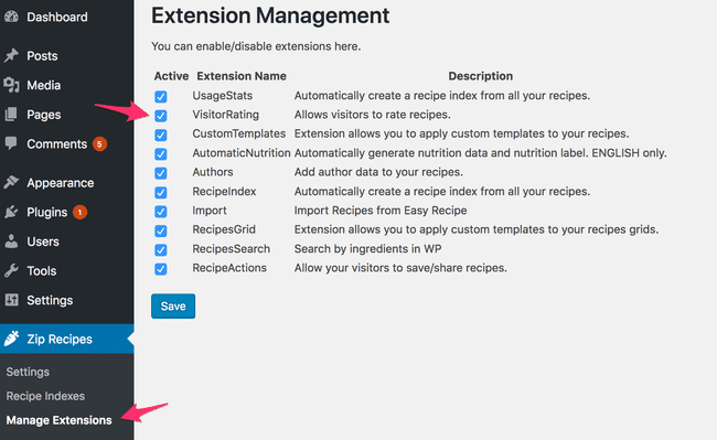 Screenshot: Deactivating Visitor Ratings for your recipes