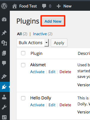 image zip recipes add new button
