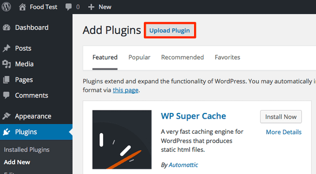 image zip recipes upload plugin button